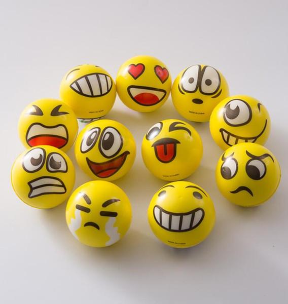 6.3cm Emoji Pu Balls Toys Smile Face Ball Stress Squeeze Ball Wrist Finger Training Balls Soft Sponge Ball Kids Toy GGA2614