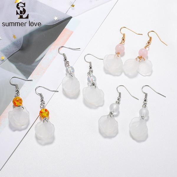 Wholesale 2019 New Clear Acrylic Beads Resin Earrings Women Geometric Long Transparent Dangle Earring Trendy Jewelry