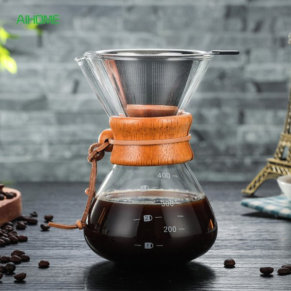 400ml Pour Over Maker Drip Thicken Glass Container Hand Percolators Stainless Steel Coffee Filter Home Drinkwares Q190604