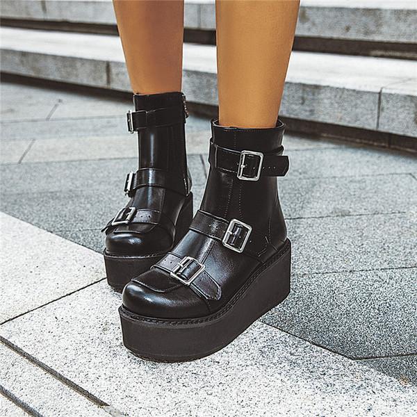 YMECHIC 2019 Otoño Marrón Negro Goth Plataforma Botas Mujer Hebilla Correa Cuñas Zapatos Gótico Punk Creepers Botín Bota Talla grande 43
