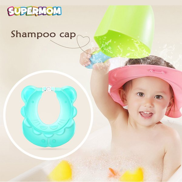 New Buckle Shower Cap Baby Shampoo Hat Adjustable Toddler Bathing Eye Ear Shield Hair Wash Protect Cap With Magic Sticker