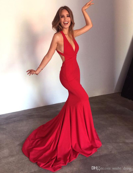 2017 New Sexy Red Robe De Soiree Mermaid Prom Dresses Deep V-Neck Backless Women Evening Party Gowns