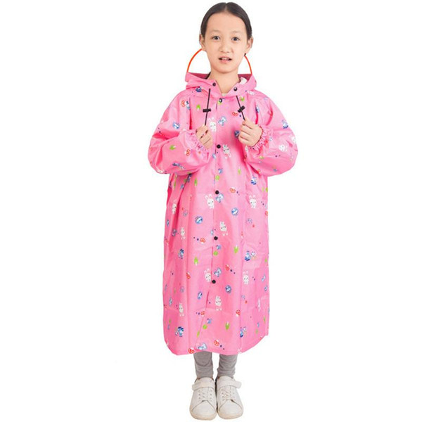Cartoon Pattern Fashion Frosted Child Raincoat Girl Boy Outdoor Hiking Travel Rain Coat For Children With Backpack Placement