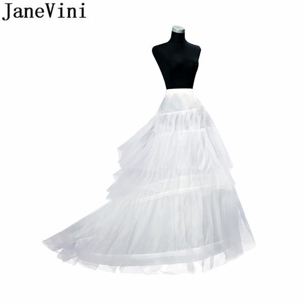 JaneVini 3 Hoops Anágua Crinolina Longa Saia Do Vintage Hoop Nupcial Nupcial para Vestidos de Noiva Underskirt Robe Mariee Jupon 2019