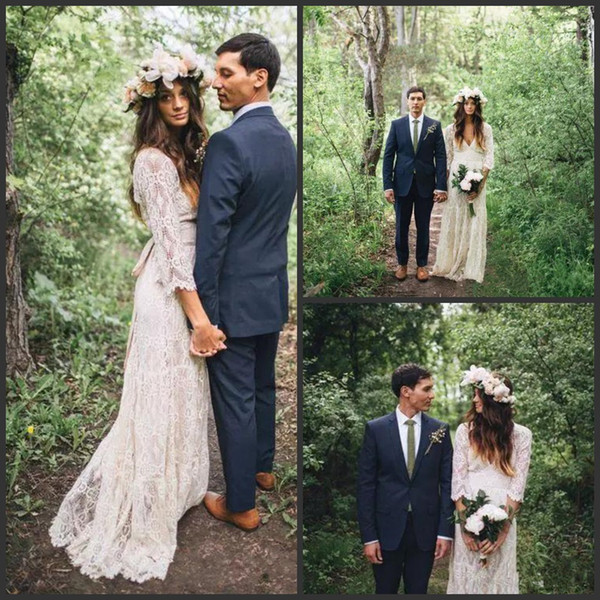 2019 New Vintage Inspired Lace Bohemian Long Sleeve Wedding Dresses Modest  V Neck Beach Boho Cheap Wedding Gowns Plus Size Bridal Gowns Wedding ...
