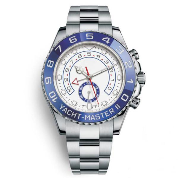 Reloj mecánico automático para hombre Relojes Esfera blanca con anillo superior azul giratorio Bisel luminiscente y bisel de acero inoxidable