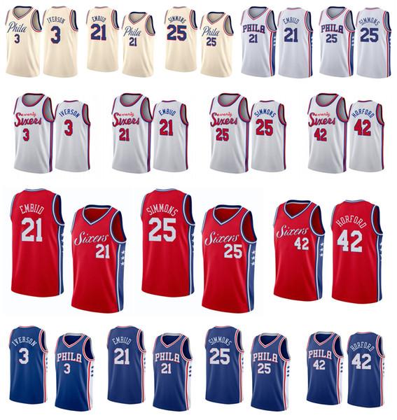 best selling 2019 Men Philadelphia Joel 21 Embiid 76ers jersey Ben 25 Simmons Jersey Al Horford Julius Erving Allen 3 Iverson sixers basketball Jerseys