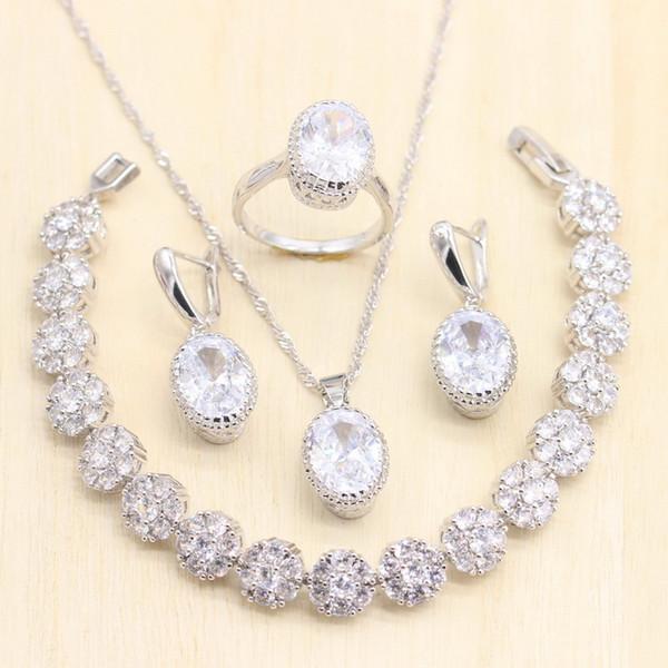 Mulheres Prata 925 Conjuntos de Jóias Pure White Zircon contas de pedra decoração pingente brincos Anéis Colar Pulseira para o presente