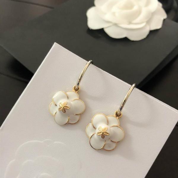 Orecchini donna OL Orecchini in oro bianco placcato bianco fiore nero per matrimoni party bel regalo per gli amici