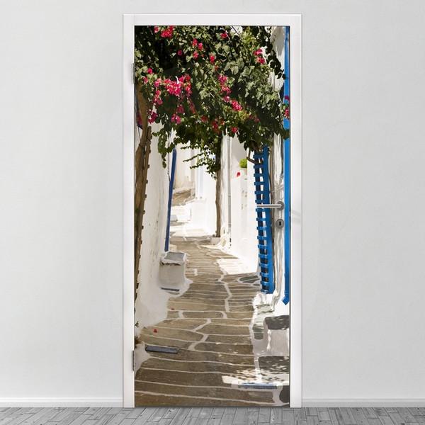 Free shipping DIY Door Sticker European Greece Town Stree door decals decorations for Bedroom Living Room wallpapers Decal home accessories
