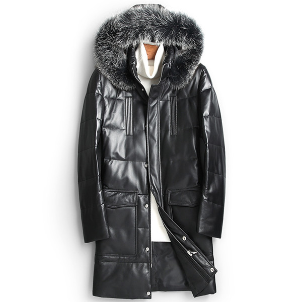 Mens sheepskin leather down jacket long winter coats hoodies snow parkas white duck down padded fox fur collar warm outerwear overcoat M-4XL