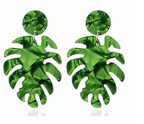 Acrylic Resin Palm Leaf Dangle Earrings Hollow Coconut Leaf Drop Earrings Geometric Circle Disc Acetate Plate Earrings for Women Girls Boho
