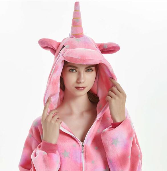 Inverno flanella Pigiami donne Kigurumi Unicorn Onesies animale sveglio del fumetto del punto Unicornio Pajamas Set biancheria da notte Sleepwear