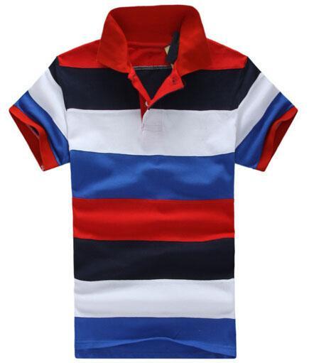 2019 sommer Männer Gestreiften Polo Shirts Kleine Pony Stickerei Bunte Business Polos Baumwolle Regenbogen Poloshirt Größe M-XXL