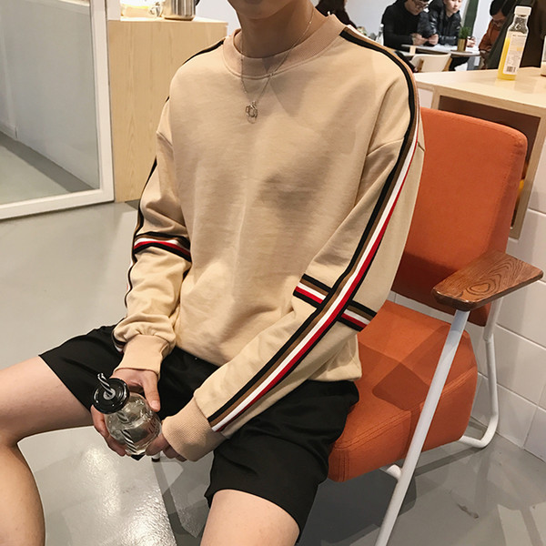 men's spring and autumn arm coloured stripe sanitary clothes young teenagers matching loose hoodies