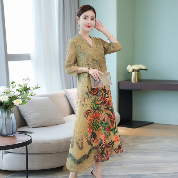 New Autumn Peacock Floral Print Casual Loose Chinese Style V Neck Lady Vestidos Big Size S-4xl Women Silk Chiffon Retro Dresses