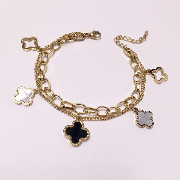 New fashion brand stainless steel leaf bracelet 18K gold rose silver wedding bracelet for couples gift come with dust bag VB07