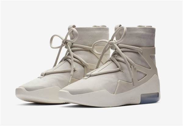 Best 2018 Authentic Air Fear of God 1 Boots Light Bone Grey Black Zoom 1S Men Basketball Shoes AR4237-001 AR4237-002 Running Shoes With Box