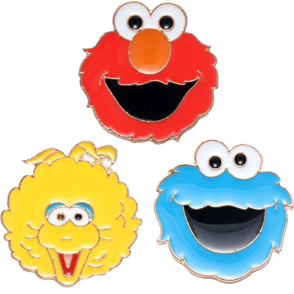 Sesame Street Elmo Cookie Monster Figura de metal Broches de dibujos animados Pin Breastpin Brotheroch Unisex Regalo lindo Newcos