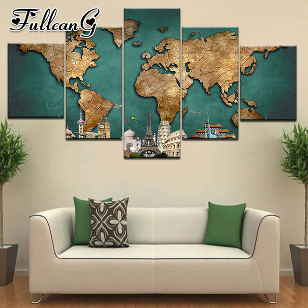 wholesale 5 piece diy diamond painting abstract map full square/round drill 5d mosaic embroidery multi-picture home decor FC695