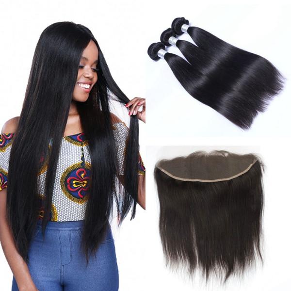 Mongolie droite Vierge humaine Bundles cheveux avec l'oreille Frontal Extensions de cheveux à l'état brut oreille 13x4 Frontal Fermeture avec 3 Bundles