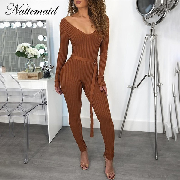 Nattemaid Sweater Knitted Jumpsuits For Women 2018 Winter Rompers Womens Jumpsuit Off Shoulder Long Sleeve Bodycon Sexy Jumpsuit MX190726