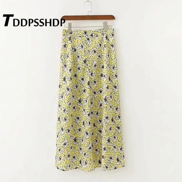 White Flower and Polka Dot Printing Women Skirt Yellow Color 2019 Spring Summer Sweet Female Skirts