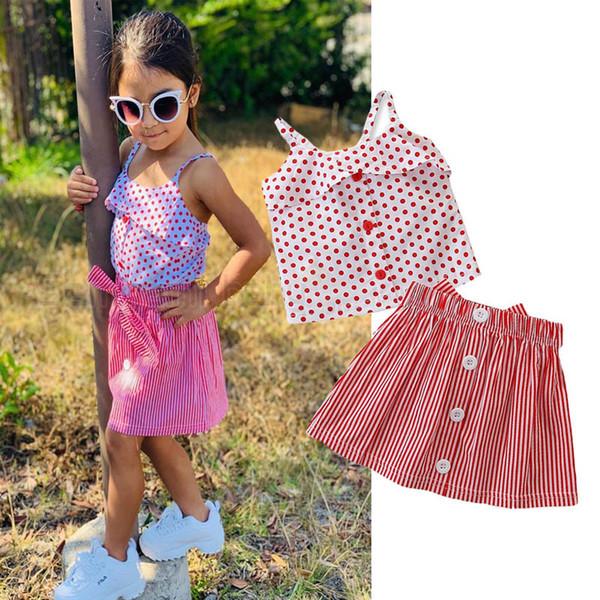 Ins Mädchen Anzüge Kinder Outfits Kinder Sommer Kleidung Kleid Mädchen Sets Kinder Designer Kleidung Mädchen Kleidung Tank + Rock Kinder Kleidung A5845