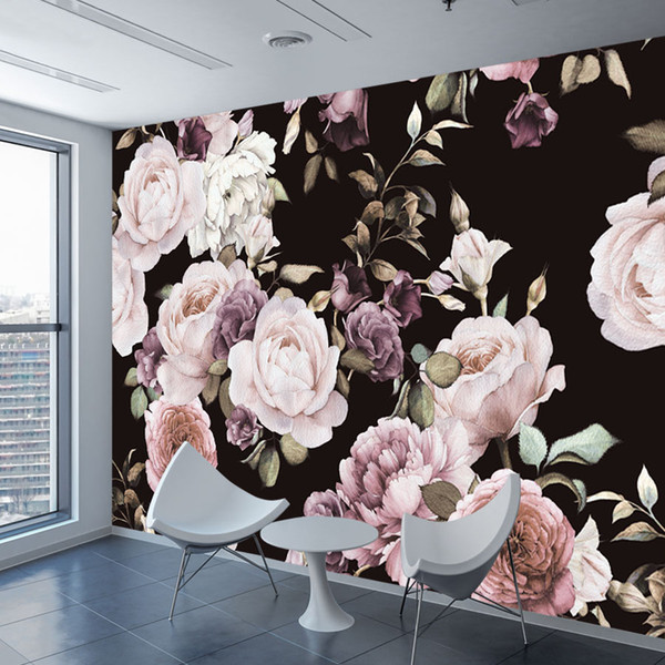 Custom 3D Photo Wallpaper Mural Hand Painted Black White Rose Peony Flower Wall Mural Living Room Home Decor Painting Wall Paper