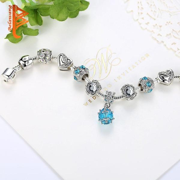Hotyou 925 pulseira de charme de coração de prata com pingente de cristal azul para as mulheres banhado a prata cadeia de cobra pulseira pulseira acessórios de jóias