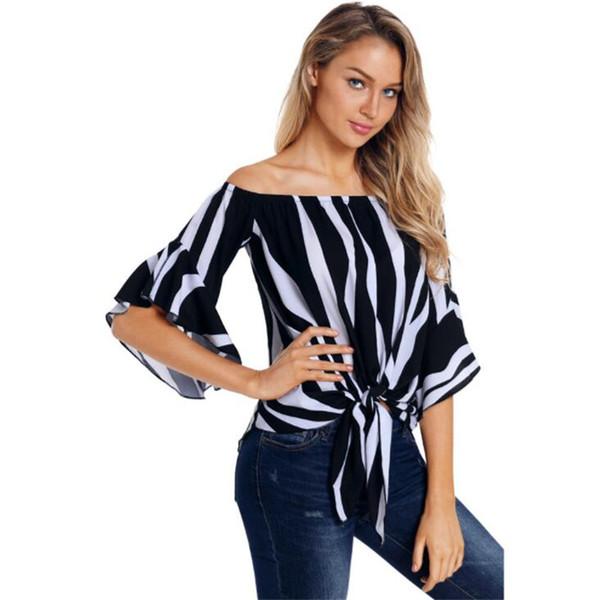 Marca de la marea de la raya de las mujeres camisas de verano de moda floja suave señora diseñador camisetas al aire libre respirable personalidad niñas tops
