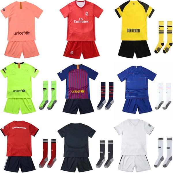 uniformes de fútbol para niños 18 19 kits de fútbol del club para niños nuevas camisetas de desgaste de fútbol + shorts + calcetines conjuntos para niños y niñas ropa de fútbol