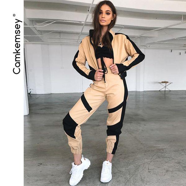 Women Autumn Sporting 2 Piece Sets Clothes Streetwear Short Baseball Jackets Black Stripe Patchwork Cargo Pants Tracksuits J190616