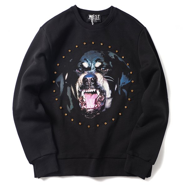 2019 latest HOT best Quality Diamond Dog Head Printing PERSONALITY uxury Brand Warm sweater Long sleeved sweater Fashion Trend JOKER sweater