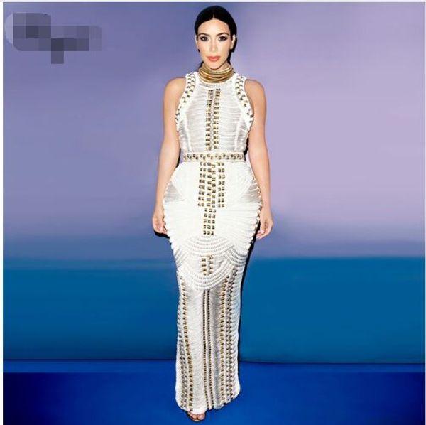2017 new Kim kardashian black beading sleeveless women fashion sexy elegant long evening party bandage Dresses Sexy Dress + suit