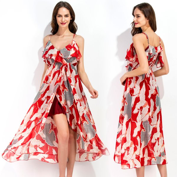 Sexy Dresses for Women Red Floral Print High Quality Chiffon Ruffle Split Spaghetti Strap Beach Holiday Party Evening Prom Dress 8378