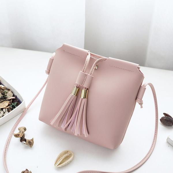 Cheap Individuality Simple Fashion Ladies PU Leather Handbag Tassel Bucket Shoulder Bag Women Mini Coin Keys Phone Messenger Bag Bolsa