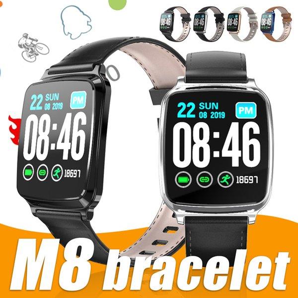 Reloj elegante M8 IP67 ritmo cardíaco Presión arterial sueño del deporte del monitor inteligente reloj pulsera pulsera para IOS Android Huawei Con paquete al por menor