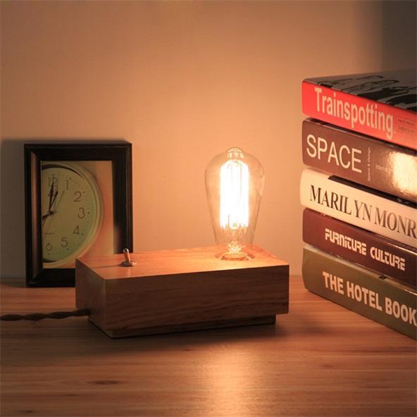 Vintage Schlafzimmer Tischlampe aus Holz Industrial Accent Learning Desk-1-light Night Fixture 110V