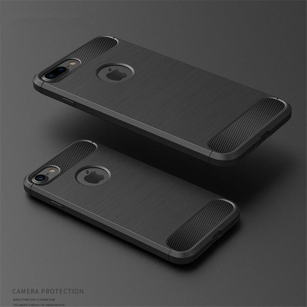 Caja ultra delgada de fibra de carbono para iphone 6 6s 7 8 más cubierta de caucho de silicona para iphone X XR XS max