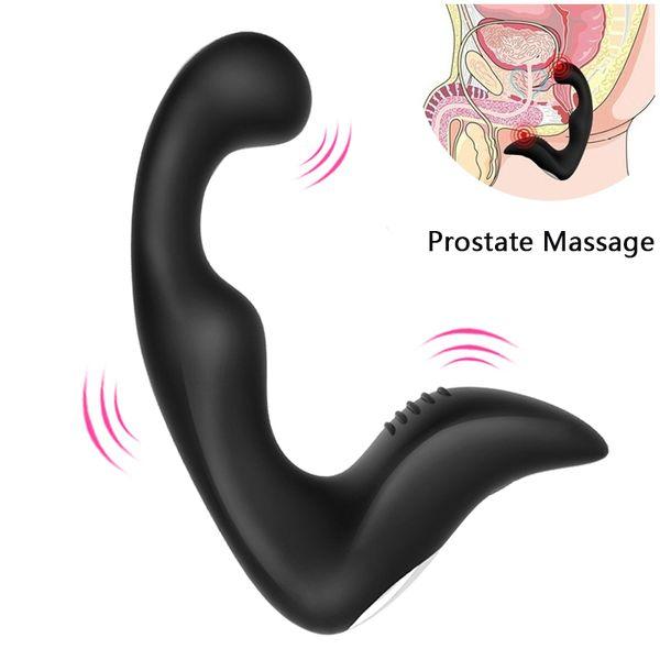 Plug anal Vibrador de la próstata Masajeador Silicona 10 modos Butt Plug Sex Toys para hombres Juguetes anales Adultos Prodcut USB Recargable