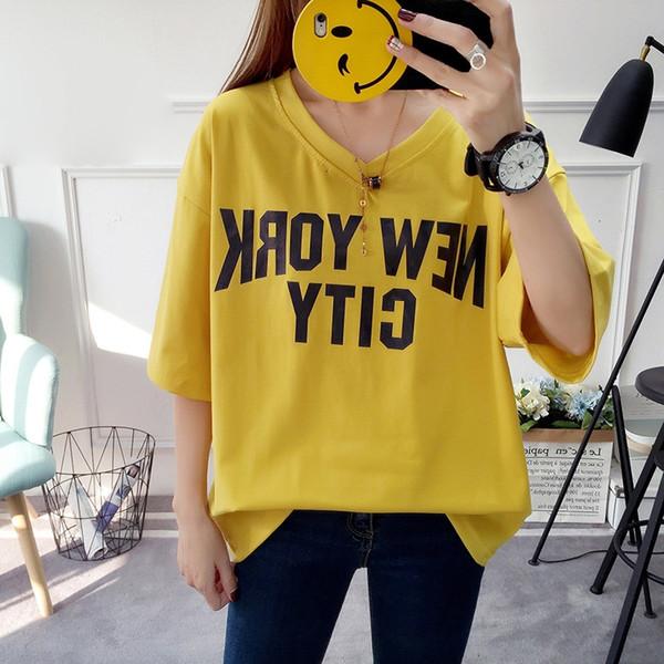 Womens Designer T Shirts Womens Tops New York City Alphabet T Shirt White Yellow Female Soft Friendly Fashion Girl Tee Tshirts Clothing