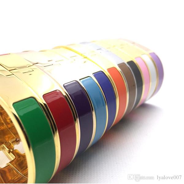 Women's H Bangles Luxury Stainless Steel Enamel charm Bracelets Bangle H Letter Buckle High quality Bracelets For women