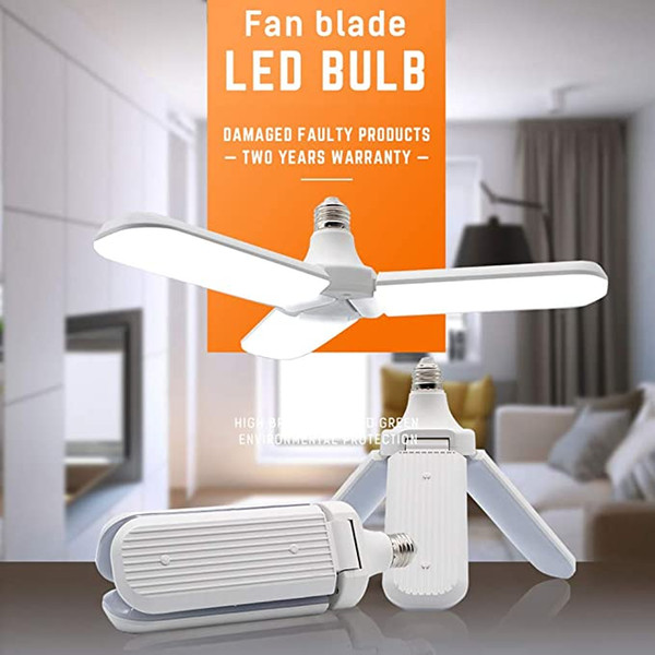 best selling LED Garage Light Bulb, Deformable LED Light 45W Cold White, E27 E26 Foldable Fan Blade 6500K Ultra-Bright Ceiling Lamp Bulb for Home Garage