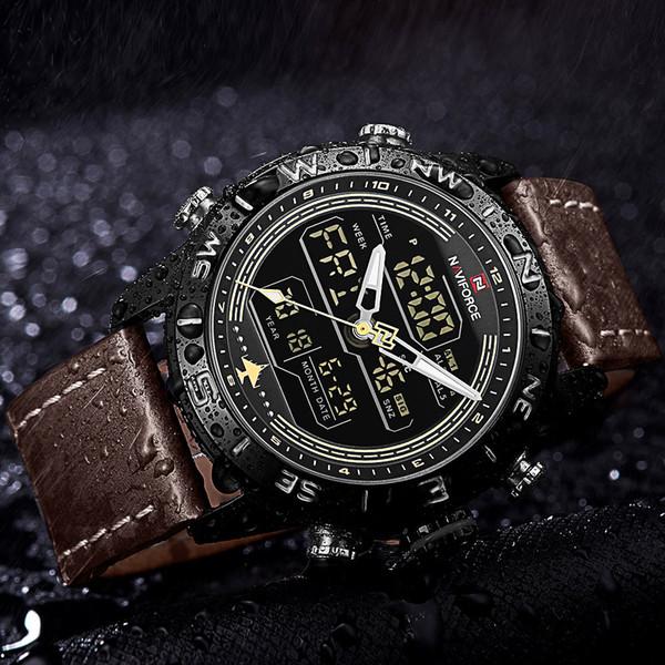 NAVIFORCE Chronograph Men Watch Top Sport Digital Male Clock Genuine Leather LED Quartz Men Wristwatches