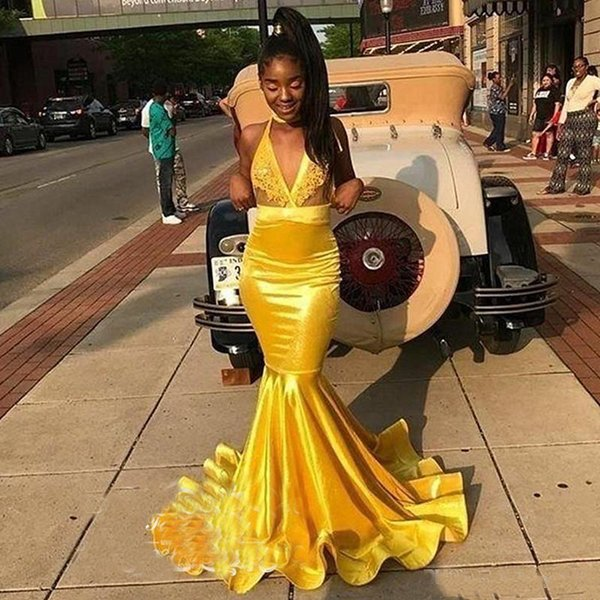 Yellow Satin Mermaid Prom Dresses 2019 Sheer Lace Top and Satin Skirt Long Evening Dress Graduation Party Gowns Corset Back
