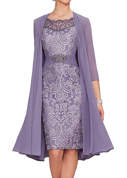 2019 sliver Mother Of The Bride Dresses with chiffon jacket lace beading 3/4 sleeves Plus Size knee Length Two Pieces evening gowns