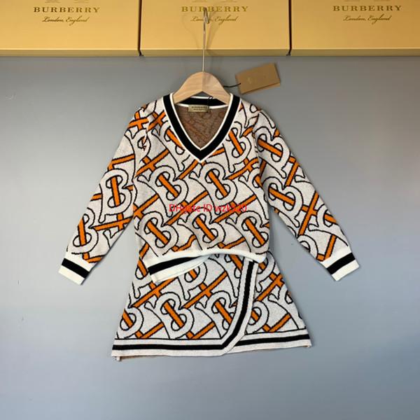 2019 Kızlar kazak setleri çocuklar tasarımcı giyim V Yaka kazak kazak + etek 2 adet sonbahar kaplı mektubu desen tasarım etek setleri