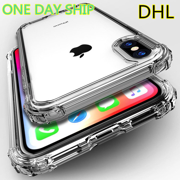 For iPhone X XS MAX XR 7 8 Clear TP Case Shock Absorption Soft Transparent Bumper Back Cover For Samsung S9 S10 Plus