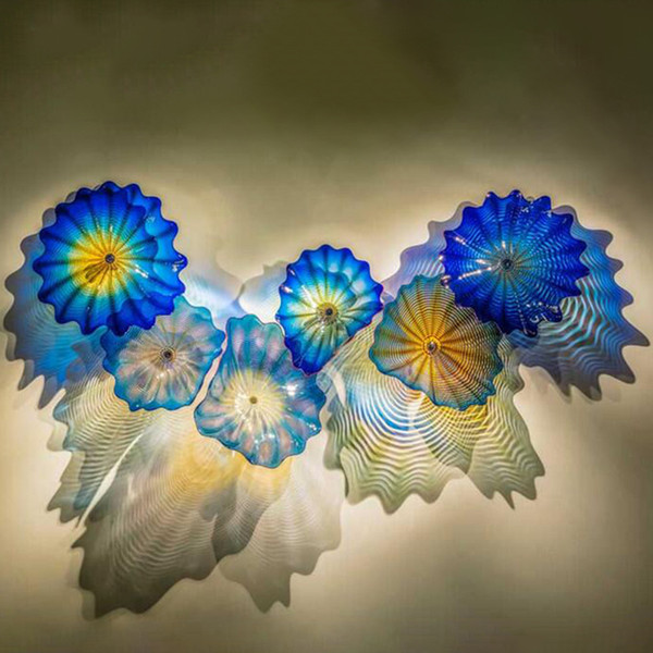 top popular Blue Colored Lamp Modern Hand Made Murano Glass Wall Lighting Abstract Flower Sconce Arts Lamps Nordic Art Decoration 2021